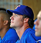20 June 2008: Texas Rangers' catcher Jarrod Saltalamacchia looks out from the dugout prior to the first game of their 3-game series against the Washington Nationals at Nationals Park in Washington, DC. The Nationals rallied in the eighth to tie, and then win 4-3 in the 14th inning of their inter-league matchup...Mandatory Photo Credit: Ed Wolfstein Photo