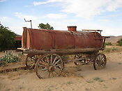 A historic water wagon at Frontier Town near Joshua Tree in Southern California.  Pappy and Harriet's restaurant serves delicious barbeque and has served as a Hollywood hideaway for decades.