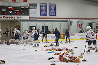As a fundraiser for Gleaning for the World, fans at the DI Men's Hocky Game throw teddy bears onto the ice after Liberty's first goal on February 15, 2014. (Photo by Ty Hester)