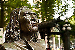 Downtown Seattle at Pioneer Square withsculpture of Chief Selth (Chief Seattle)