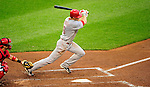 6 June 2010: Cincinnati Reds' outfielder Drew Stubbs in action against the Washington Nationals at Nationals Park in Washington, DC. The Reds edged out the Nationals 5-4 in a ten inning game. Mandatory Credit: Ed Wolfstein Photo