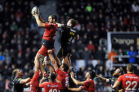 Konstantin Mikautadze of Toulon wins the ball at a lineout. European Rugby Champions Cup match, between RC Toulon and Bath Rugby on January 10, 2016 at the Stade Mayol in Toulon, France. Photo by: Patrick Khachfe / Onside Images