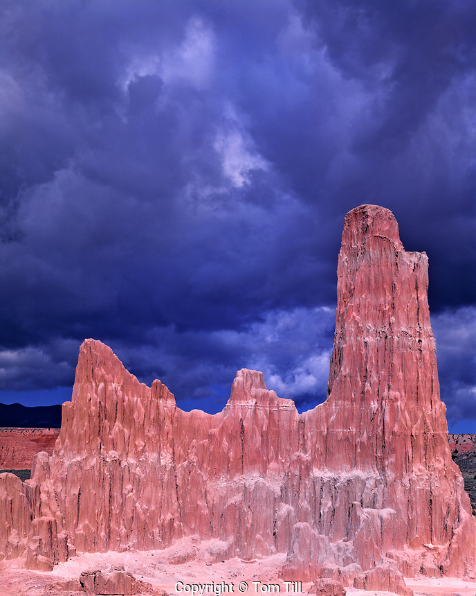 Eroded formations, Cathedral Gorge State Park, Nevada, Panaca  rock formations in approaching storm