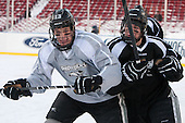 Paul de Jersey (PC - 13), Shane Luke (PC - 20) -  - The participating teams in Hockey East's first doubleheader during Frozen Fenway practiced on January 3, 2014 at Fenway Park in Boston, Massachusetts.