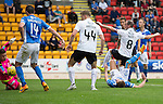St Johnstone v Falkirk&hellip;23.07.16  McDiarmid Park, Perth. Betfred Cup<br />Joe Shaughnessy gets a touch on Steven MacLean&rsquo;s overhead kick to score the third goal<br />Picture by Graeme Hart.<br />Copyright Perthshire Picture Agency<br />Tel: 01738 623350  Mobile: 07990 594431