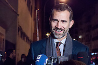 The prince Felipe visits Don Juan Carlos at the clinic San jose - Madrid