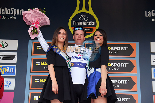 Bob Jungels (LUX) Quick-Step Floors wears the Maglia Bianca young riders jersey on the podium at the end of Stage 2 of the 2017 Tirreno Adriatico running 229km from Camaiore to Pomarance, Italy. 9th March 2017.<br /> Picture: La Presse/Gian Mattia D'Alberto | Cyclefile<br /> <br /> <br /> All photos usage must carry mandatory copyright credit (&copy; Cyclefile | La Presse)