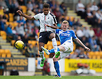 St Johnstone v Falkirk&hellip;23.07.16  McDiarmid Park, Perth. Betfred Cup<br />Brian Eastin is tackled by Nathan Austin<br />Picture by Graeme Hart.<br />Copyright Perthshire Picture Agency<br />Tel: 01738 623350  Mobile: 07990 594431