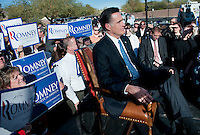 Republican presidential canditate Mitt Romeny speaks with Fox News in Paradise Valley, Arizona where former vice president and one-time presidential candidate Dan Quayle endorsed Romney in his run for the GOP nomination for President of the United States. Romney and Quayle made the announcement at the Hermosa Inn in Paradise Valley Arizona.