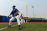 17 August 2007: Philippe Lecourieux practices during the Good Luck Beijing International baseball tournament (olympic test event) at the Wukesong Baseball Field in Beijing, China.