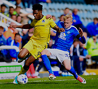 Peterborough United's Lewis Freestone (R) battles with Bristol Rovers' Ellis Harrison (L)<br /> <br /> Peterborough 4 - 2 Bristol Rovers<br /> <br /> Photographer David Horton/CameraSport<br /> <br /> The EFL Sky Bet League One - Peterborough v Bristol Rovers - Saturday 22nd April 2017 - ABAX Stadium - Peterborough <br /> <br /> World Copyright &copy; 2017 CameraSport. All rights reserved. 43 Linden Ave. Countesthorpe. Leicester. England. LE8 5PG - Tel: +44 (0) 116 277 4147 - admin@camerasport.com - www.camerasport.com