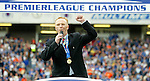 All together now... Alex McLeish addresses the Ibrox faithful