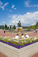 First family statue in the Golden Heart Plaza, downtown Fairbanks, Alaska