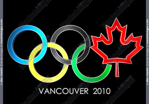 Olympic rings Vancouver 2010 concept with a Canada maple leaf symbol. Isolated on black background.