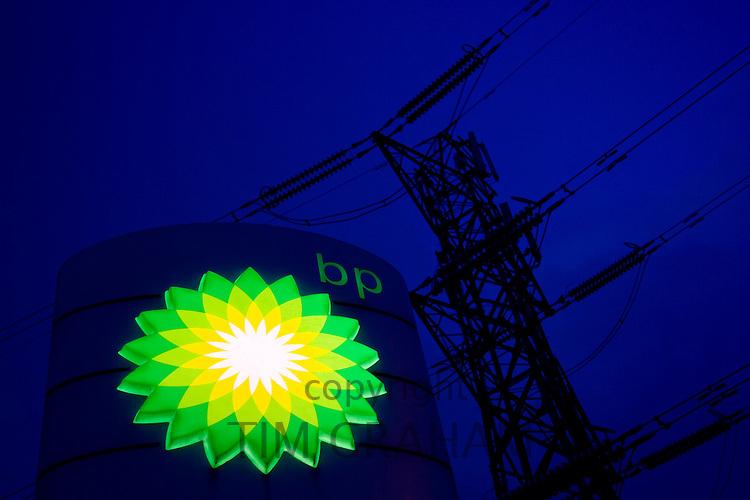 Electricity pylon and BP emblem, Gloucestershire, United Kingdom