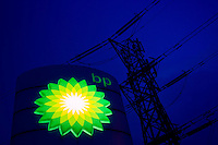 Electricity pylon and BP emblem, Gloucestershire, United Kingdom