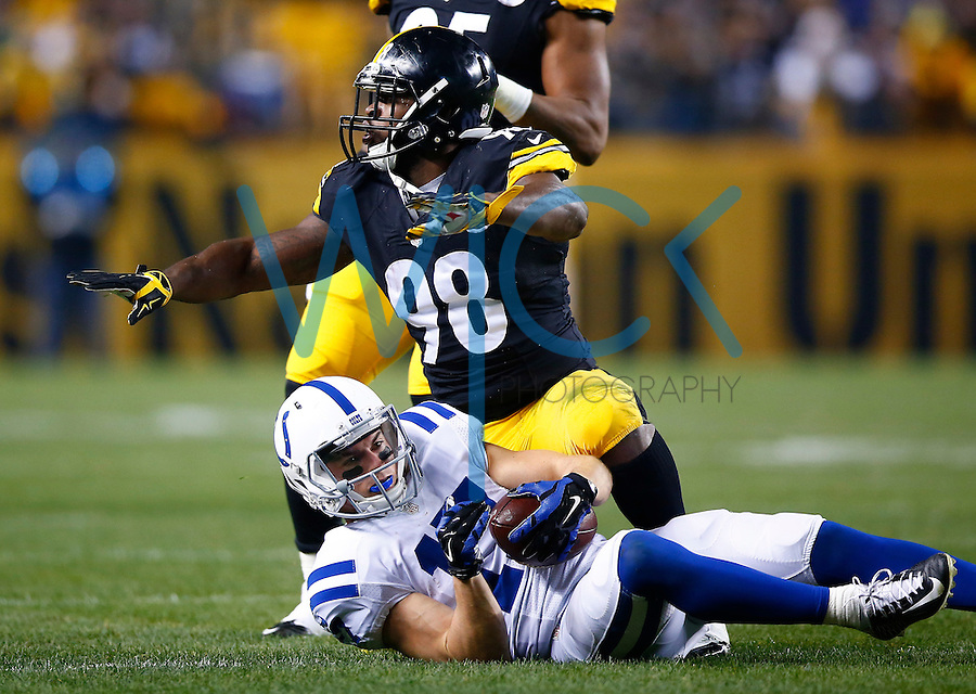 Vince Williams #98 of the Pittsburgh Steelers reacts after tackling Griff Whalen #17 of the Indianapolis Colts in the first half during the game at Heinz Field on December 6, 2015 in Pittsburgh, Pennsylvania. (Photo by Jared Wickerham/DKPittsburghSports)