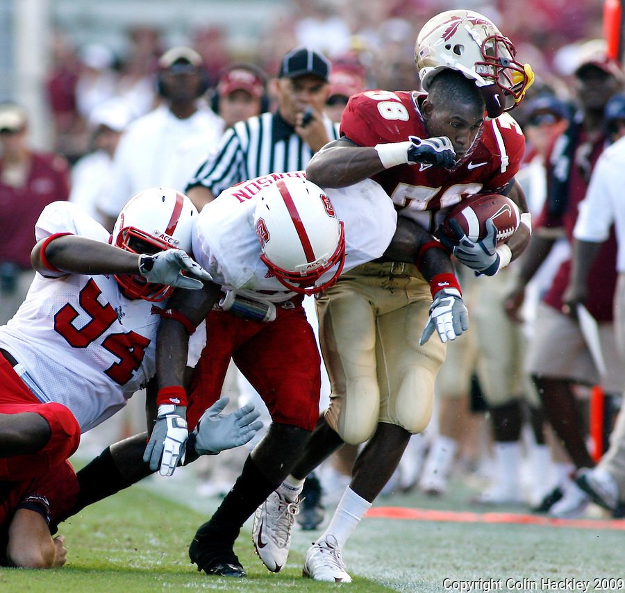 TALLAHASSEE, FL 10/31/09-FSU-NCST FB09 CH17-Florida State's Jermaine Thomas, right, has his helmet come loose after taking a hit from N.C. State's Michael Lemon, left, and Clem Johnson during first half action Saturday at Doak Campbell Stadium in Tallahassee. .COLIN HACKLEY PHOTO