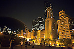 """Cloud Gate, also known as """"The Bean,"""" is a public sculpture by Indian-born British artist Anish Kapoor, that is the centerpiece of AT&T Plaza at Millennium Park in the Loop community area of Chicago, Illinois, USA"""