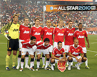 Starting eleven of Manchester United during the 2010 MLS All-Star match against the MLS All-Stars at Reliant Stadium, on July 28 2010, in Houston, Texas. Manchester United won 5-2.