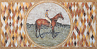 "22"" x 44 1/2"" Polo Player and Horse tumbled and honed mosaic"