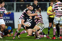 Shaun Knight of Bath Rugby is double-tackled around the neck. European Rugby Challenge Cup match, between Bath Rugby and Cardiff Blues on December 15, 2016 at the Recreation Ground in Bath, England. Photo by: Patrick Khachfe / Onside Images