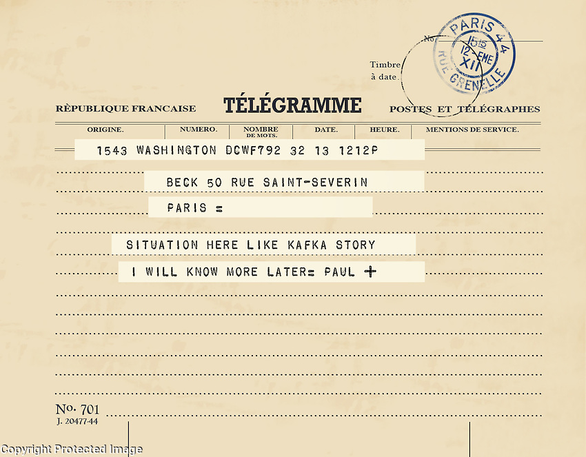 A recreation of a real telegram Paul Child sent to Julia while they were living in Paris.