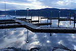 Reflection of the docks and sky of Lake Coeur d'Alene.