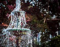 A fast shutter speed freezes a water fountain's display of spray.  The fountain at the Meek Mansion in Hayward, California.