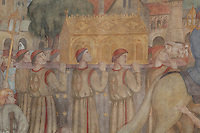 Procession of the box reliquary of Saint Genevieve (Sainte Geneviève) in Paris during the 12th century, detail of the monumental fresco located below the stained glass windows of the ambulatory, by Paul Lemasson, 20th century, Nanterre Cathedral (Cathédrale Sainte-Geneviève-et-Saint-Maurice de Nanterre), 1924 - 1937, by architects Georges Pradelle and Yves-Marie Froidevaux, Nanterre, Hauts-de-Seine, France. Picture by Manuel Cohen
