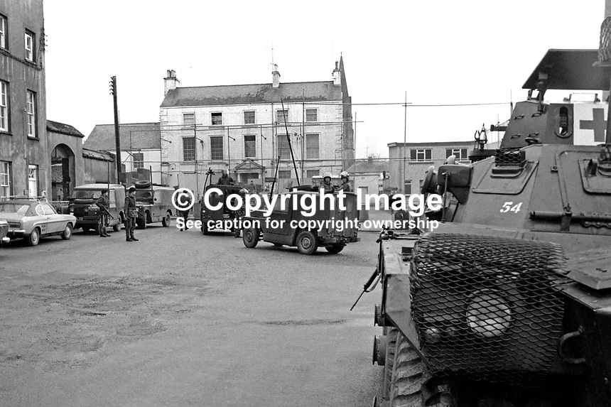 Military presence outside the RUC station, Strabane, Co Tyrone, N Ireland UK, following an aerial bombing using milk churns which failed to detonate. The helicopter used had been hijacked by a Provisional IRA team which included Eddie Gallagher and Rose Dugdale. The helicopter was found abandoned at Cloughfin, Co Donegal. 197401240042c..Copyright Image from Victor Patterson, 54 Dorchester Park, Belfast, United Kingdom, UK...For my Terms and Conditions of Use go to http://www.victorpatterson.com/Victor_Patterson/Terms_%26_Conditions.html