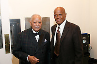 NEW YORK, NY - APRIL 3: Hon. David N. Dinkins, Harry Belafonte pictured as David N. Dinkins, 106th Mayor of the City of New York, receives the Dr. Phyllis Harrison-Ross Public Service Award for a lifetime of public service at the New York Society of Ethical Culture in New York City on April 3, 2014. Credit: Margot Jordan/MediaPunch