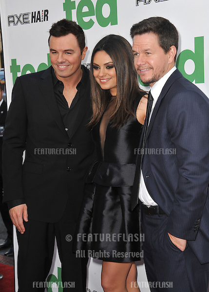 "Seth McFarlane (left), Mila Kunis & Mark Wahlberg at the world premiere of their movie ""Ted"" at Grauman's Chinese Theatre, Hollywood..June 22, 2012  Los Angeles, CA.Picture: Paul Smith / Featureflash"