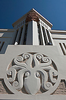 Europe/France/Aquitaine/64/Pyrénées-Atlantiques/Pays-Basque/Biarritz: Le Musée de la Mer est un bâtiment de style Art déco, détail du Poulpe installé en frontispice du bâtiment