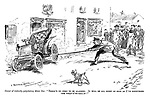 """Owner of violently palpitating motor car. """"There's no need to be alarmed. It will be all right as soon as I've discovered the what-d'ye-call-it!"""" (an early motoring street scene showing a man trying to catch an out of control car with a pitch fork)"""