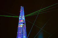 A light and laser show illuminates the Shard the tallest building in Europe at 310m (1000ft). The official opening was on the 6 July 2012.