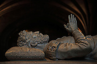 Effigy of Luiz de Camoens, 1524-80, Portuguese poet, from his tomb, made by Costa Mota in the 19th century (the remains were moved here in 1880) in Neo-Manueline style, in the choir of the Jeronimos Monastery or Hieronymites Monastery, a monastery of the Order of St Jerome, built in the 16th century in Late Gothic Manueline style, Belem, Lisbon, Portugal. The monastic complex includes the church with portal by Joao de Castilho, cloisters, and Chapel of St Jerome. The monastery is listed as a UNESCO World Heritage Site. Picture by Manuel Cohen