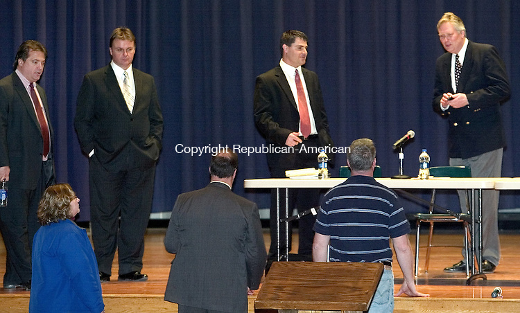 NAUGATUCK, CT. 26 February 2009-02269SV04--Mayoral candidates, from left, Republicans Ronald S. San Angelo, and Mayor Mike Bronko along with Democrats Bob Mezzo and Kevin Knowles get some last minute instructions before the mayoral debate at City Hill Middle School in Naugatuck Thursday.<br /> Steven Valenti Republican-American