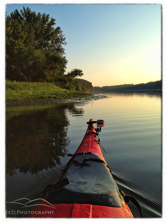 "Kayaking on the Connecticut River at dawn in Weathersfield, Connecticut. iPhone photo - suitable for print reproduction up to 8"" x 12""."
