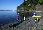 Kayakers at spring Bay on Orcas Island