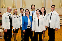 Class of 2015 White Coat Ceremony. Benjamin Brown, Amanda Peel, Logan Bartram, Janice Gallant, M.D., Bruno Cardoso, Darlene Peterson, Jenna Arruda, Justin Van Backer.
