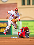 2 March 2013: St. Louis Cardinals infielder Daniel Descalso turns a double-play at second during a Spring Training game against the Washington Nationals at Roger Dean Stadium in Jupiter, Florida. The Nationals defeated the Cardinals 6-2 in their first meeting since the NLDS series in October of 2012. Mandatory Credit: Ed Wolfstein Photo *** RAW (NEF) Image File Available ***