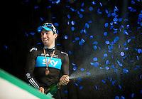 E3 Prijs Harelbeke 2012.Bernie Eisel on the podium with Team Sky branded confetti so it seems...