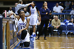 29 December 2015: Duke's Crystal Primm waits at the scorer's table. The Duke University Blue Devils hosted the Western Carolina University Catamounts at Cameron Indoor Stadium in Durham, North Carolina in a 2015-16 NCAA Division I Women's Basketball game.
