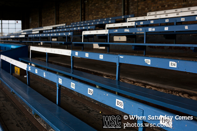 Forfar Athletic 1 Edinburgh City 2, 02/02/2017. Station Park, SPFL League 2. The main stand at Station Park, Forfar, pictured before the SPFL League 2 fixture between Forfar Athletic and Edinburgh City. It was the club's sixth and final meeting of City's inaugural season since promotion from the Lowland League the previous season. City came from behind to win this match 2-1, watched by a crowd of 446. Photo by Colin McPherson.