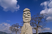 Stone totem pole with comic or menacing facial expression  Baelgiri  Korea   Totems comiques et grimacants a l'entree du temple de  Baelgiri  coree  ///R20134/    L0006873  /  R20134  /  P105109