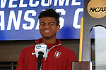 12 December 2015: Stanford's Brian Nana-Sinkam. The NCAA held a press conference at Three Points at the Sporting Kansas City offices one day before the Clemson University Tigers play the Stanford University Cardinal in a 2015 NCAA Division I Men's College Cup championship match.
