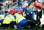 St Johnstone v St Mirren...11.09.10  .Concerned looks by Jody Morris and Paul Gallacher as medical staff surround Andy Jackson after his collision with Paul Gallacher.Picture by Graeme Hart..Copyright Perthshire Picture Agency.Tel: 01738 623350  Mobile: 07990 594431