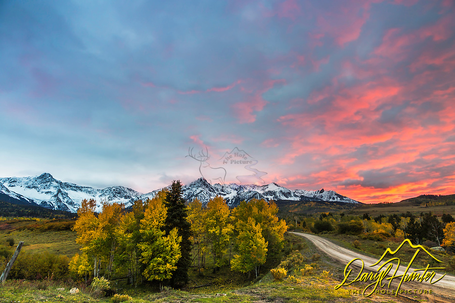 Autumn  sunset in the Mt. Sneffels Range. This is a range of mountains in the greater San Juan Mountain of southwestern Colorado. It was a pleasure to marry the panoply of the best of winter and autumn with a southwestern sky.