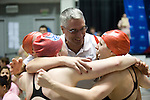 25 MAR 2011: Coach Gregg Parini of Denison celebrates with Softmore Alyssa Swanson and Juniors Marit Wangstad, Emily Schroeder, and Hilary Callen after the 800 yard frestyle relay during the Division III Men's and Women's Swimming and Diving Championship held at the Allan Jones Aquatic Center in Knoxville, TN. The Denison relay team finished with a time of  7:19.11 to win the national championship. David Weinhold/NCAA Photos